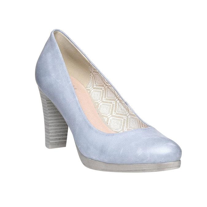 Kožené lodičky na širokém podpatku bata, modrá, 724-9948 - 13