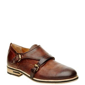 Pánská kožená obuv ve stylu Monk a-s-98, hnědá, 826-7001 - 13