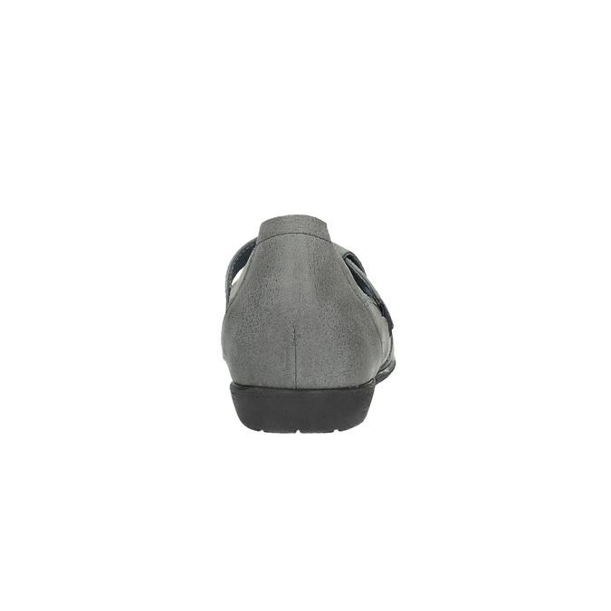 Kožené baleríny s páskem přes nárt bata, šedá, 524-2497 - 17