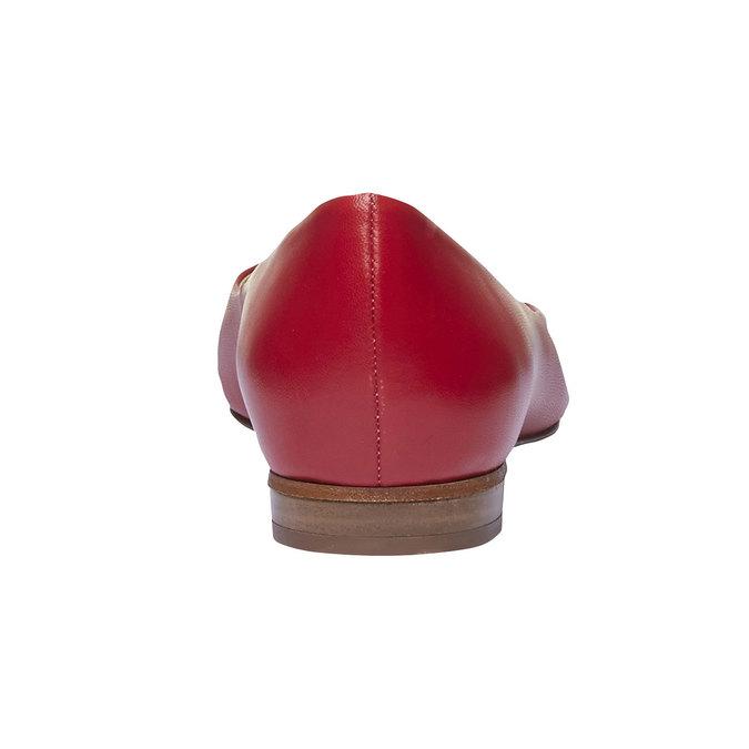 Dámské kožené baleríny do špičky bata, červená, 524-5493 - 17