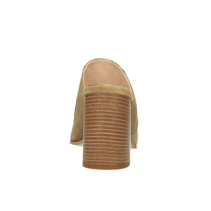 Kožené nazouváky na širokém podpatku bata, hnědá, 763-3516 - 17