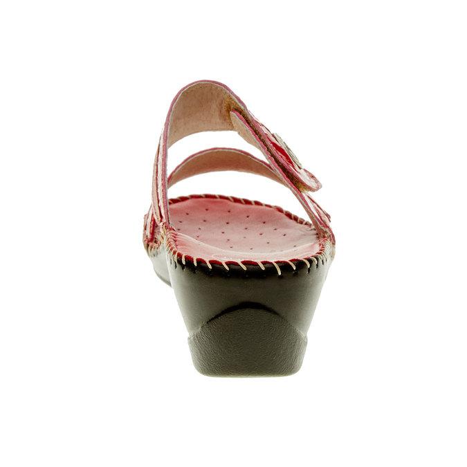Dámské pantofle na klínovém podpatku comfit, červená, 674-5249 - 17