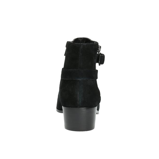 Kotníčková obuv z broušené kůže bata, černá, 693-6600 - 17