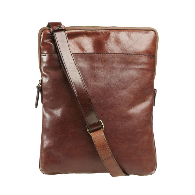 Kožená crossbody taška elega, hnědá, 964-4165 - 26