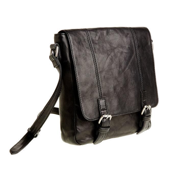 Kožená Crossbody taška s přezkami bata, šedá, 964-2193 - 13