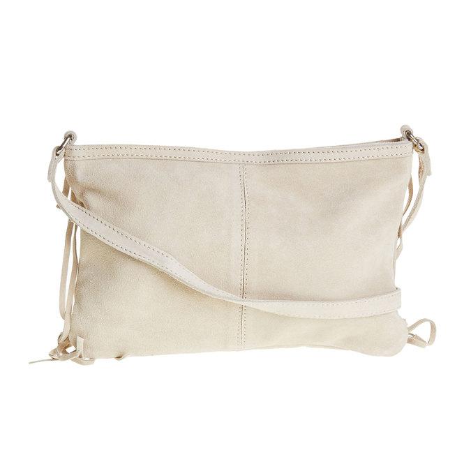 Kožená Crossbody kabelka s třásněmi bata, béžová, 963-8120 - 26