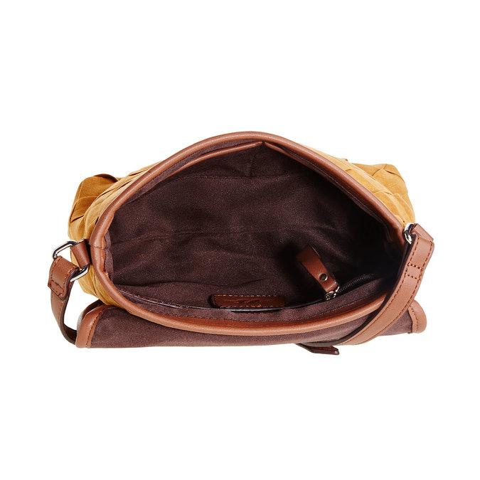Crossbody kabelka s pleteným vzorem bata, hnědá, 969-3258 - 15
