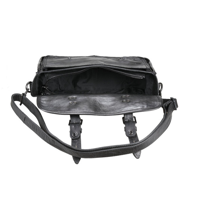 Kožená kabelka ve stylu aktovky mjus, černá, 966-6003 - 15