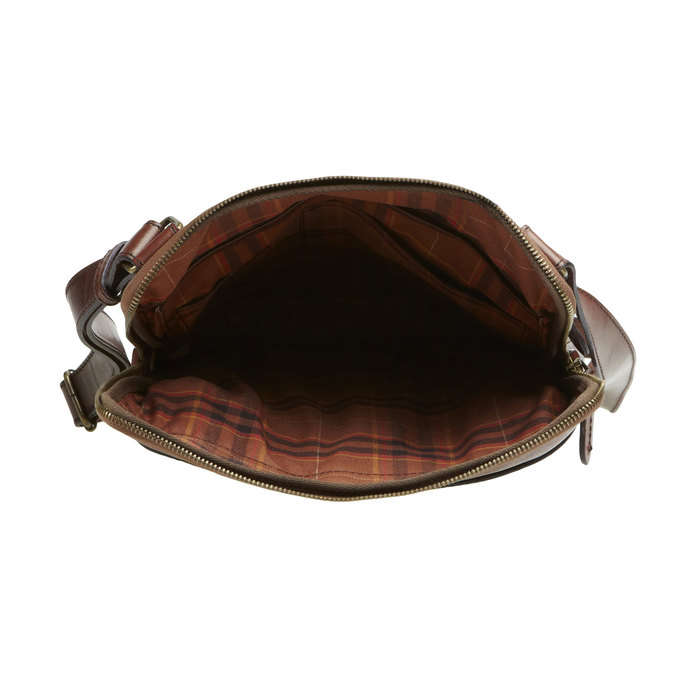 Kožená crossbody taška elega, hnědá, 964-4165 - 15