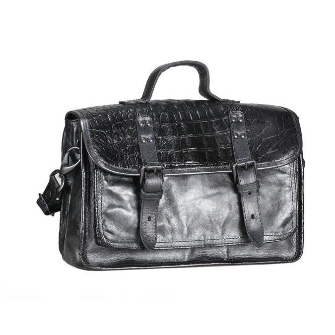 Kožená kabelka ve stylu aktovky mjus, černá, 966-6003 - 13