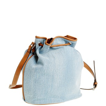 Kabelka v Bucket stylu bata, modrá, 969-9403 - 13