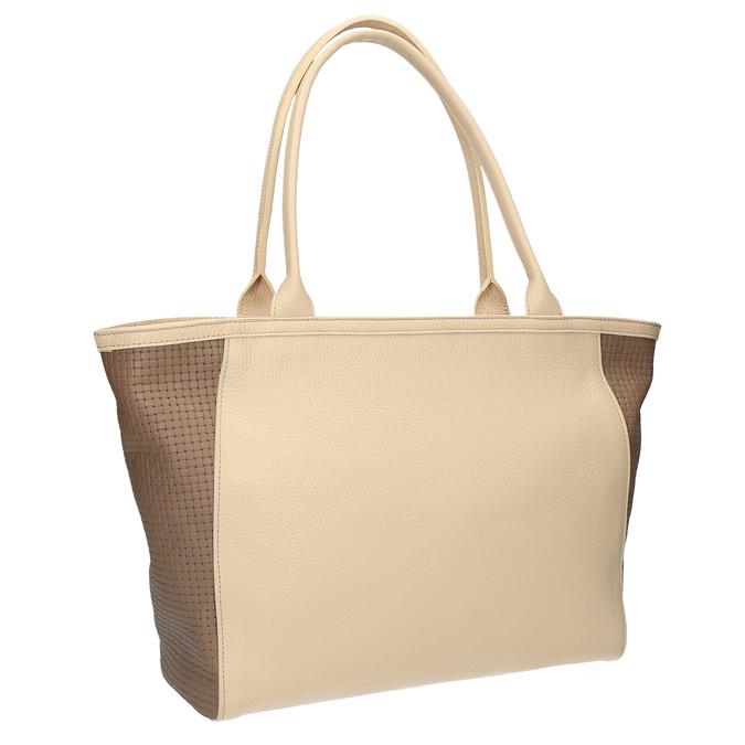 Kožená shopper kabelka bata, béžová, 964-3191 - 13