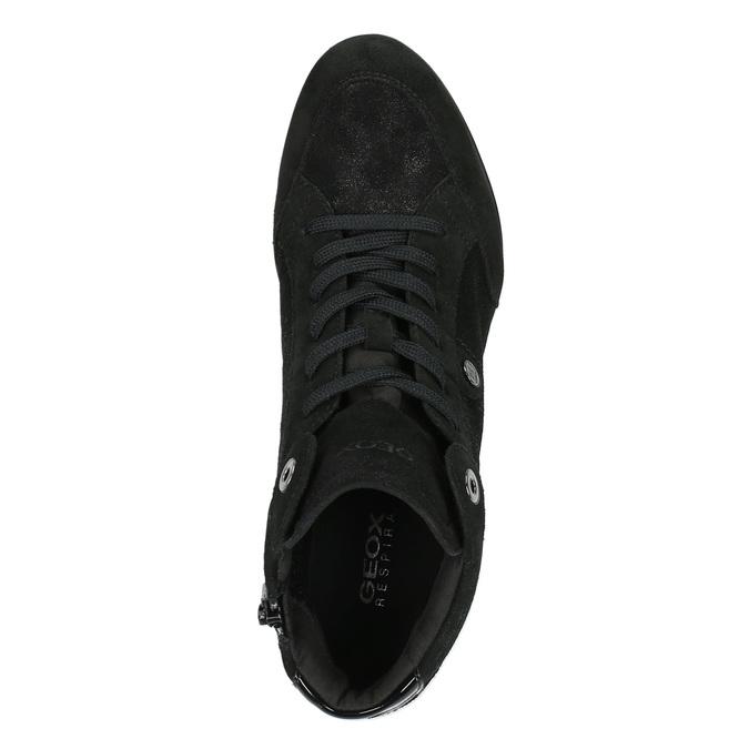 Kožené tenisky na klínovém podpatku geox, černá, 723-6030 - 19