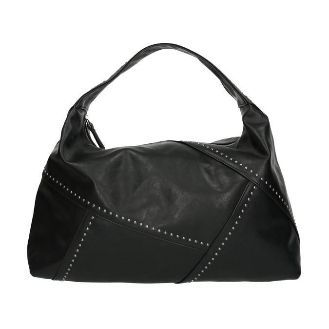 Kabelka v Hobo stylu s kovovou aplikací bata, černá, 961-6854 - 19