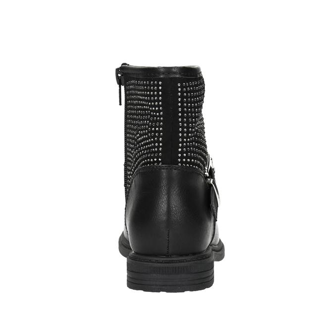 Dětská kotníčková obuv s kamínky mini-b, černá, 391-6249 - 17