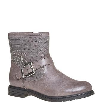 Dětská kotníčková obuv s kamínky mini-b, šedá, 391-2249 - 13
