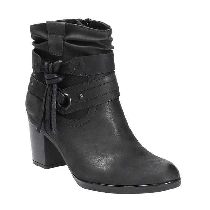 Kožené kotníčkové kozačky ve Western stylu bata, černá, 696-6610 - 13