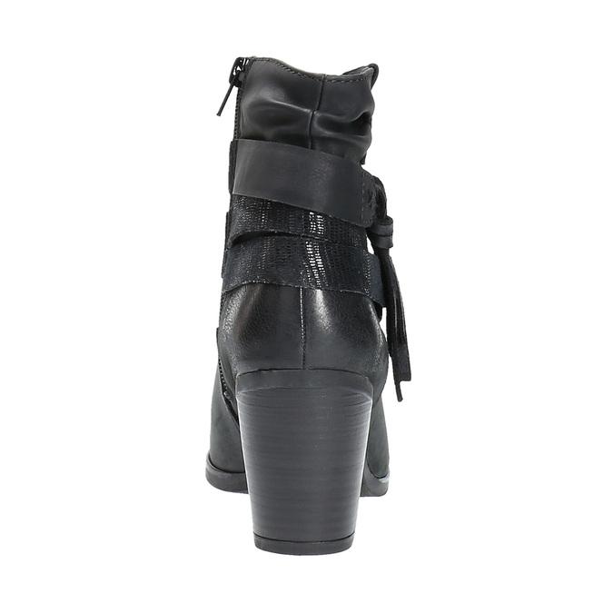 Kožené kotníčkové kozačky ve Western stylu bata, černá, 696-6610 - 17