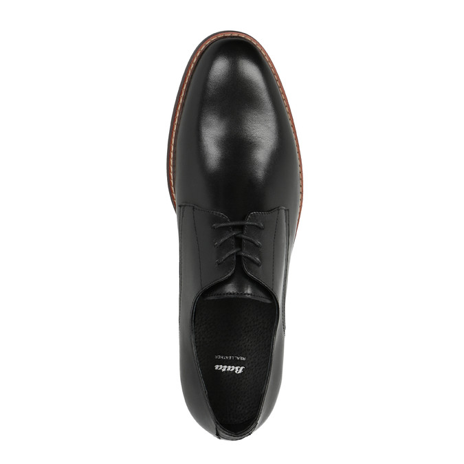 Černé kožené polobotky s výrazným obšitím bata, černá, 824-6684 - 19