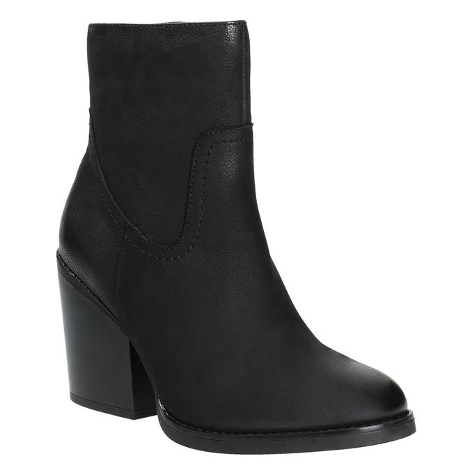 Kožená kotníčková obuv na širokém podpatku bata, černá, 696-6612 - 13