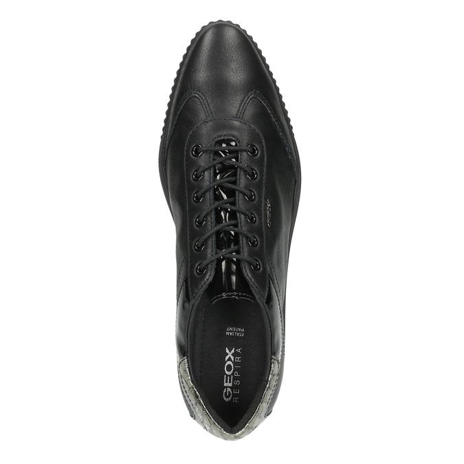 Dámské kožené tenisky černé geox, černá, 524-6018 - 19