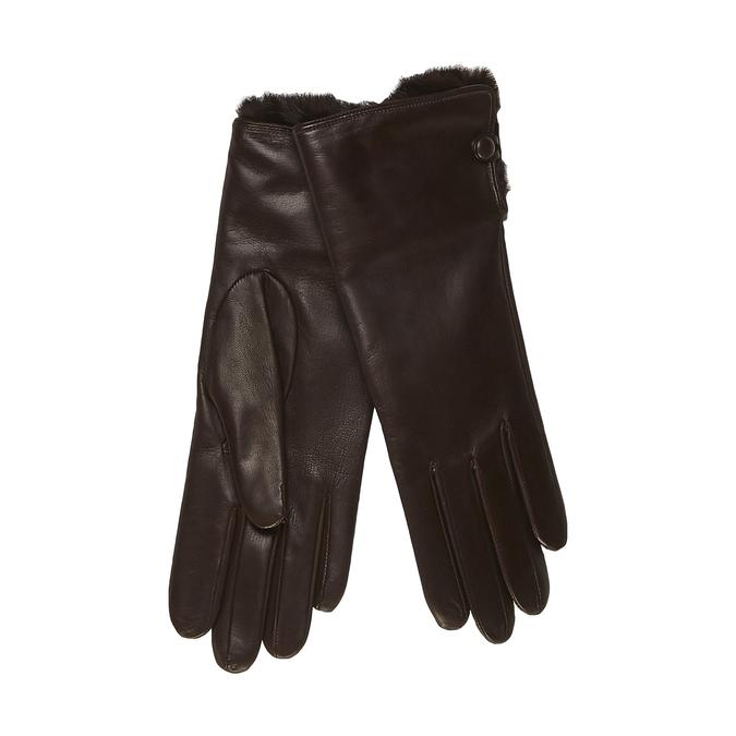 Dámské kožené rukavice s kožešinkou junek, hnědá, 924-4001 - 13