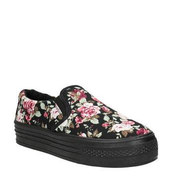 Dámské Slip-on s květinovým vzorem bata, černá, 529-0631 - 13