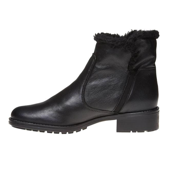 Genie - kotníčková obuv s kožíškem bata, černá, 594-6506 - 15