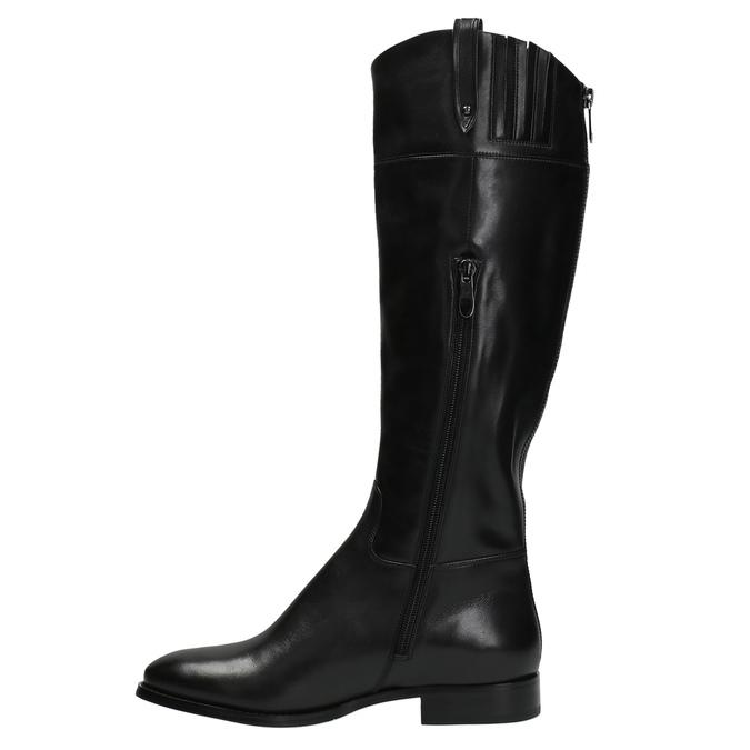 Kožené kozačky s výrazným zipem bata, černá, 596-6631 - 19