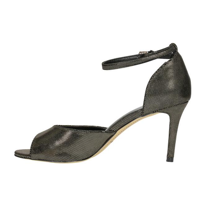 Sandály na jehlovém podpatku se zlatými odlesky bata, černá, 729-8630 - 26