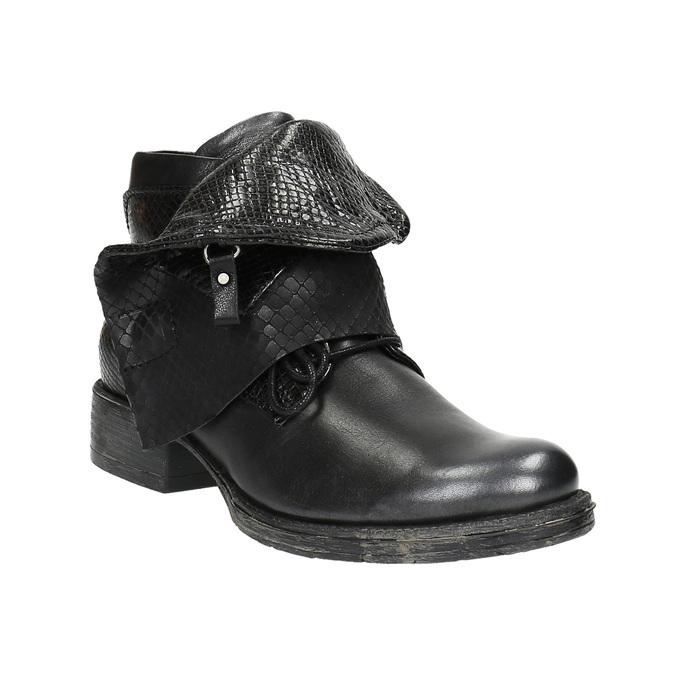 Kožená kotníčková obuv se širokým lemem bata, černá, 596-6617 - 13