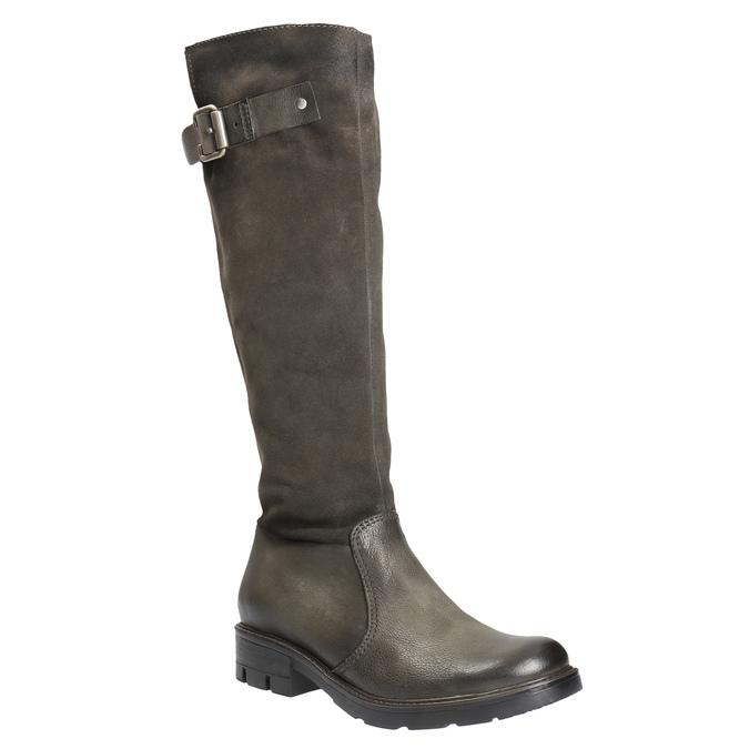 Kožené kozačky na výrazné podešvi bata, hnědá, 596-4618 - 13