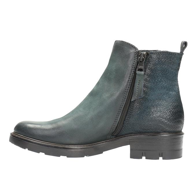 Kožená kotníčková obuv na výrazné podešvi bata, tyrkysová, 596-9615 - 26
