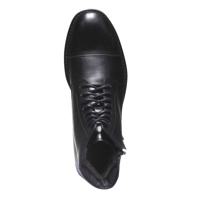 Kožené kotníkové boty v Derby střihu bata, černá, 894-6259 - 19