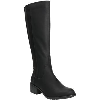 Dámské kozačky na nízkém podpatku bata, černá, 691-6600 - 13