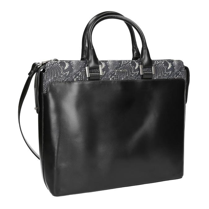 Kožená kabelka s detailem hadího vzoru gino-rossi, černá, 964-6024 - 13