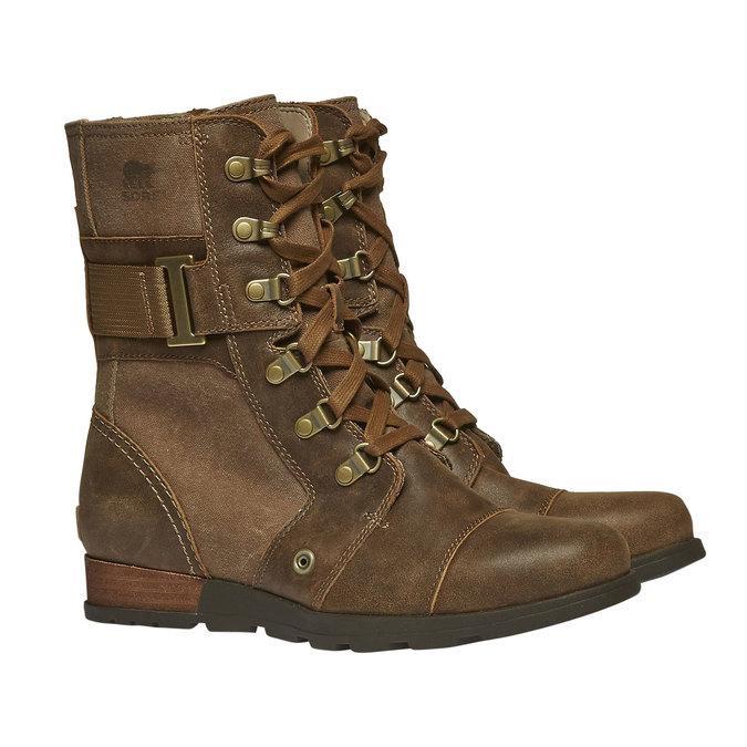 Kožená kotníčková obuv sorel, hnědá, 594-4039 - 26