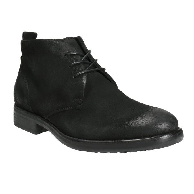 Kotníčková obuv z broušené kůže bata, černá, 846-9611 - 13