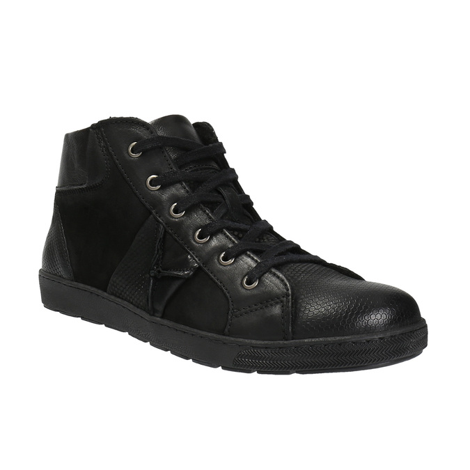 Kožená kotníčková obuv pánská bata, černá, 846-6602 - 13