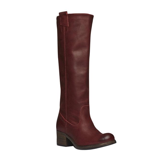 Kožené kozačky bez zipu bata, červená, 596-5106 - 13