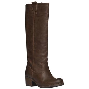 Kožené kozačky bez zipu bata, hnědá, 596-4106 - 13