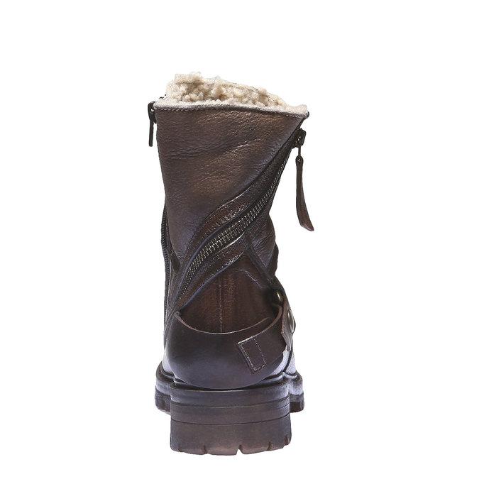 Kožené kotníkové kozačky s kožíškem bata, hnědá, 596-4146 - 17