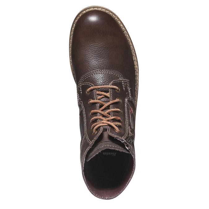 Kožené kotníčkové boty se zipem bata, hnědá, 894-4128 - 19
