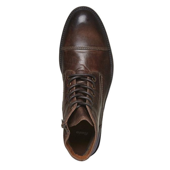 Kožené kotníkové boty s výrazným prošitím bata, hnědá, 894-4125 - 19