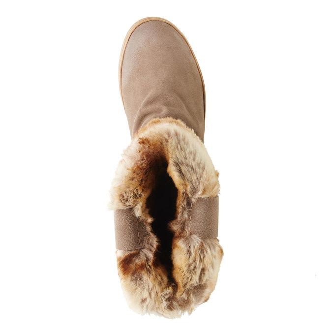 Kožená kotníčková obuv bata, béžová, 593-2104 - 19