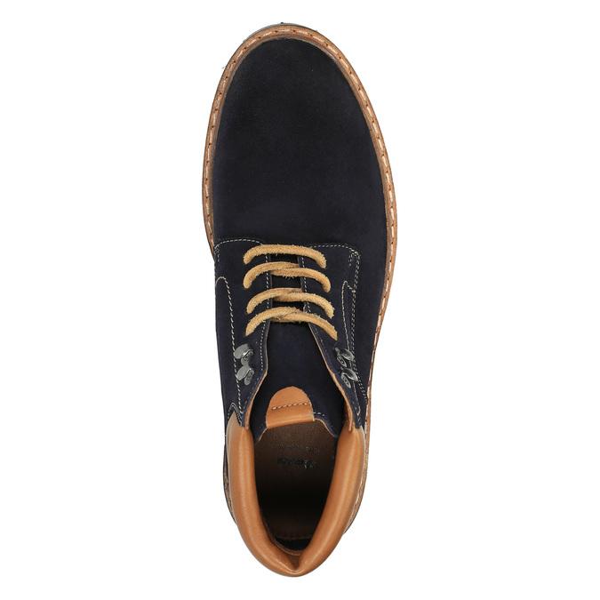 Kožená kotníčková obuv s výraznou podešví bata, modrá, 893-9650 - 19