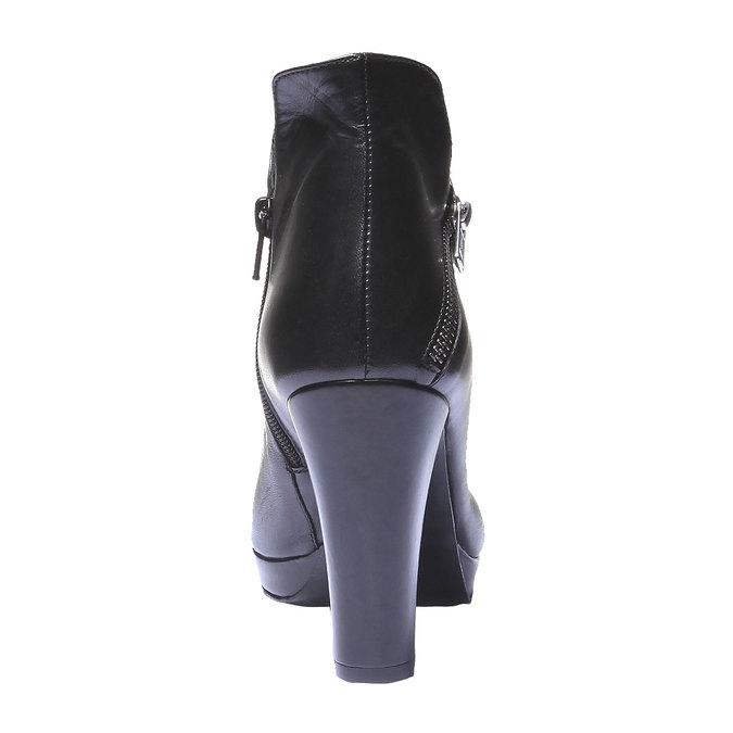 Kožené kotníkové kozačky na podpatku bata, černá, 794-6601 - 17