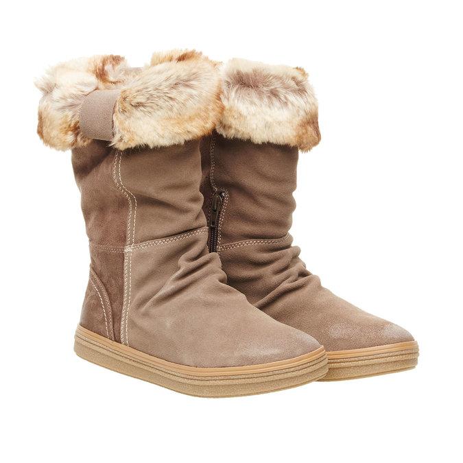 Kožená kotníčková obuv bata, béžová, 593-2104 - 26