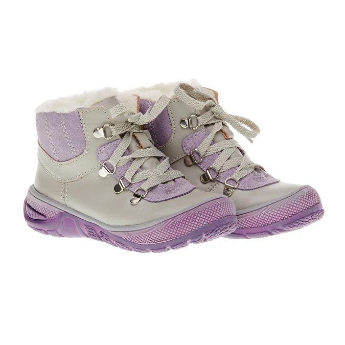 Kožené zimní boty ke kotníkům mini-b, šedá, 124-2105 - 26