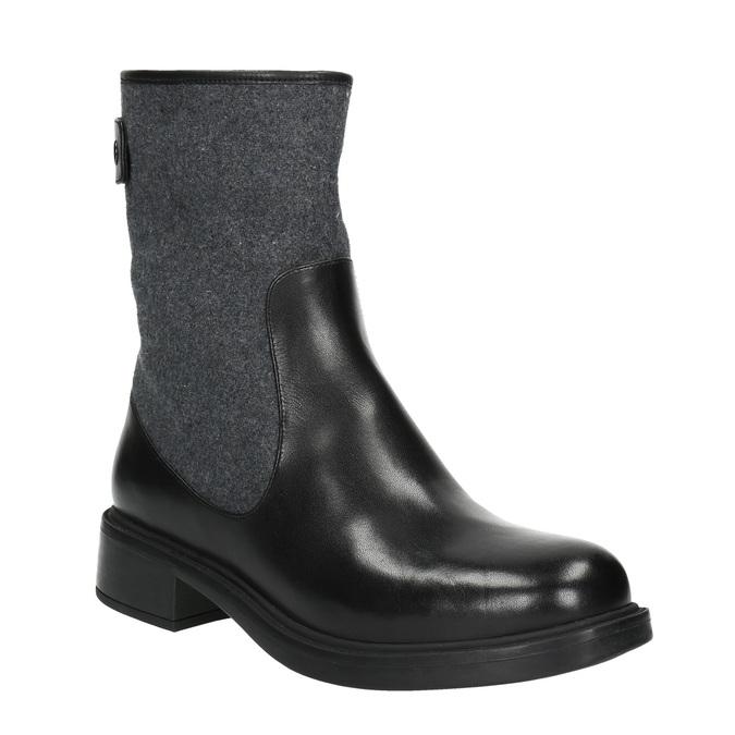 Kožená kotníčková obuv bata, černá, 594-6632 - 13